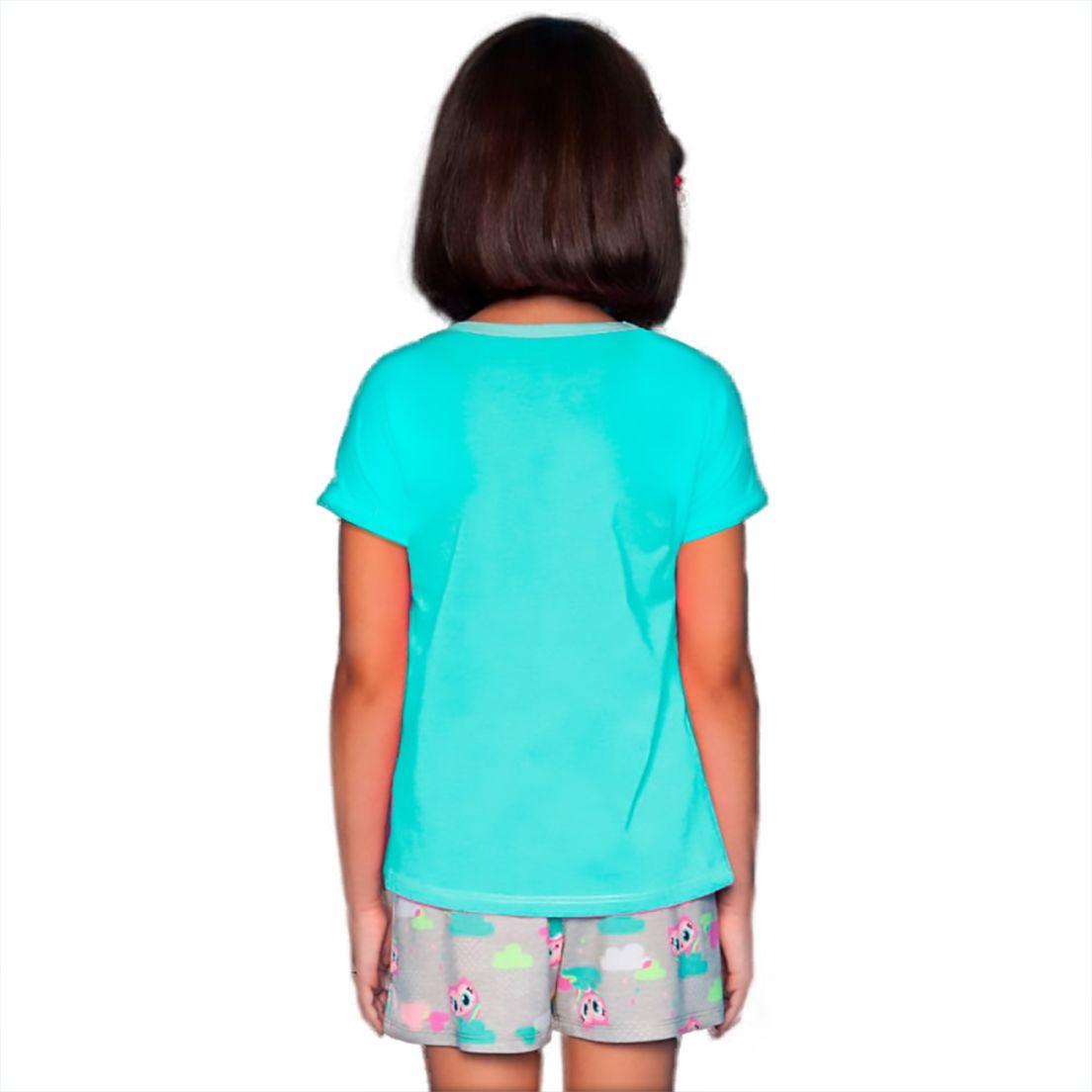 Pijama blusa e shorts  Mãe e Filha Puket  Viscose Coruja