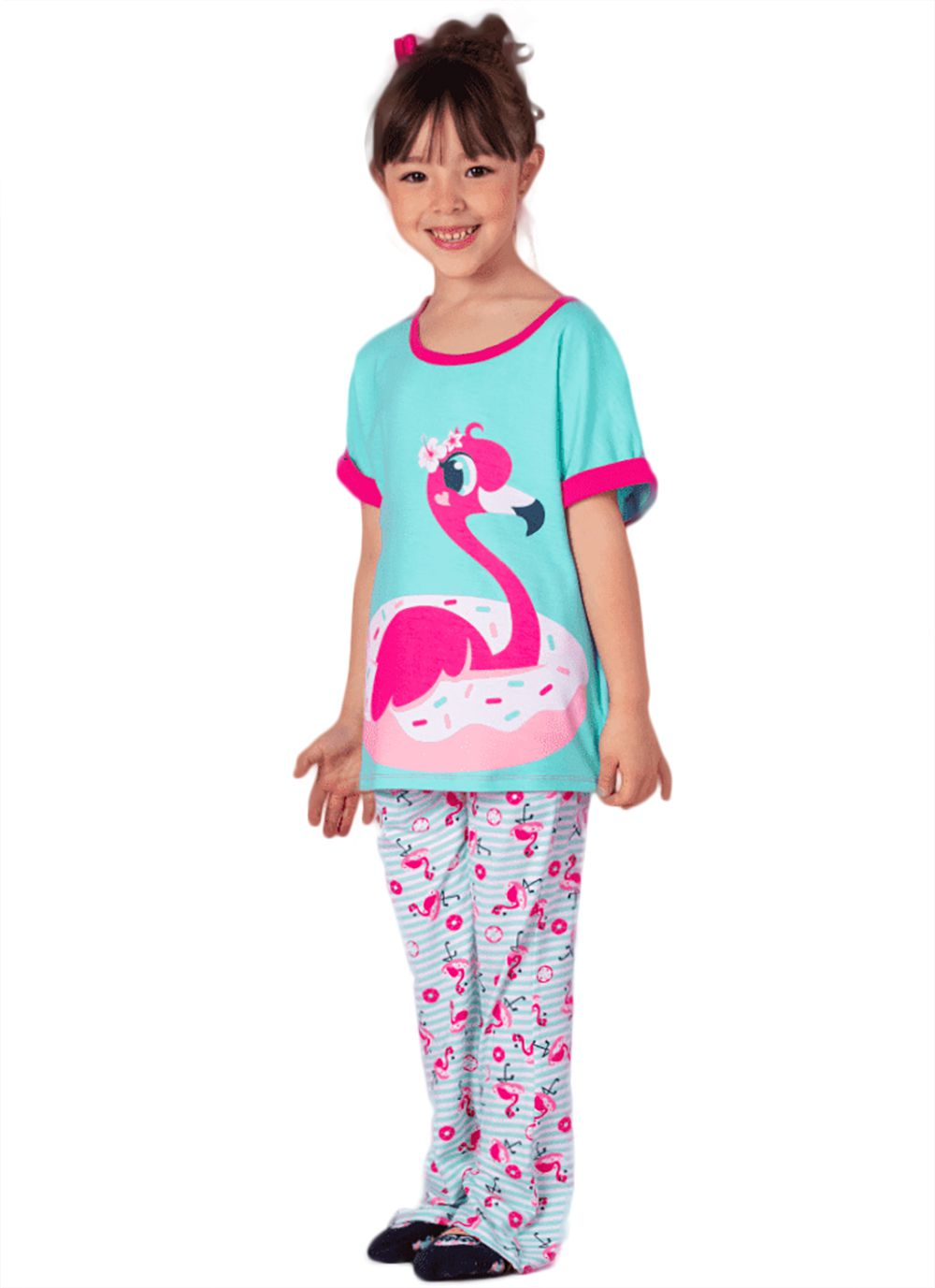 Pijama blusa Manga Curta e Calça  Puket  Viscose Flamingo