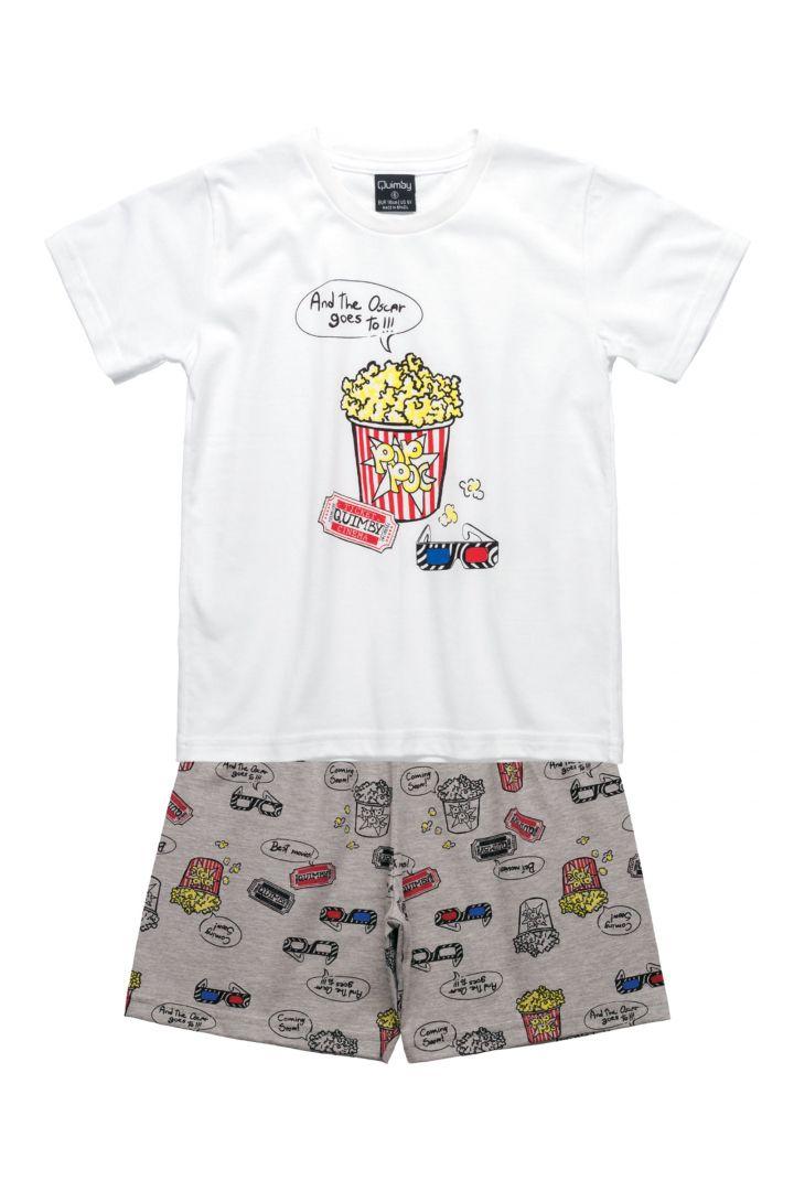 Pijama camiseta e bermuda Quimby  Pai e Filho Cinema Mescla