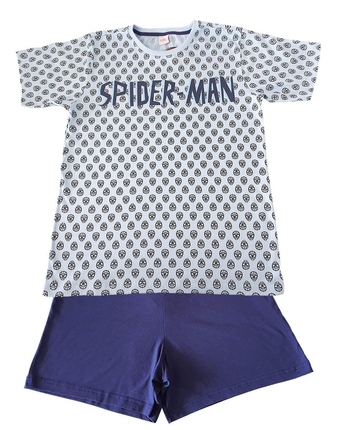 Pijama Adulto Curto  Evanilda  Marvel Spiderman Marinho/azul