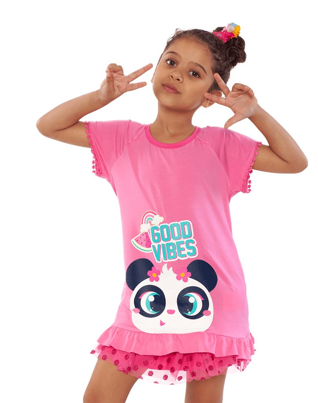 Pijama Infantil curto blusa e shorts Puket  Panda Tutu Camuflado Com Patches