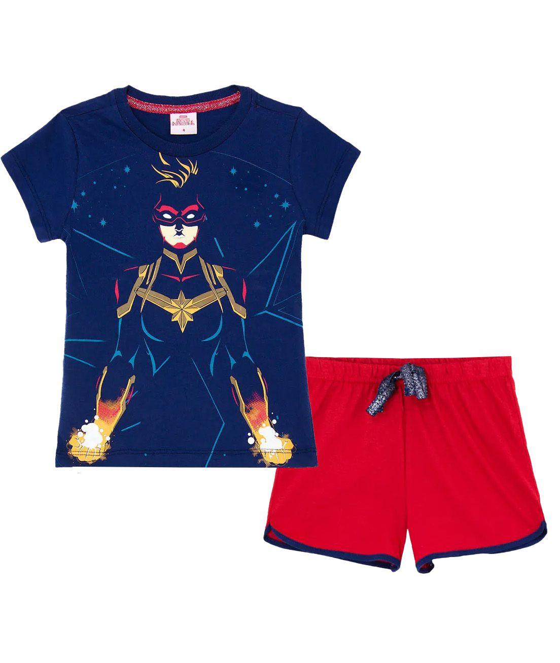 Pijama Curto  Infantil  Evanilda Capitain Marvel Marinho/Vermelho brilha no escuro