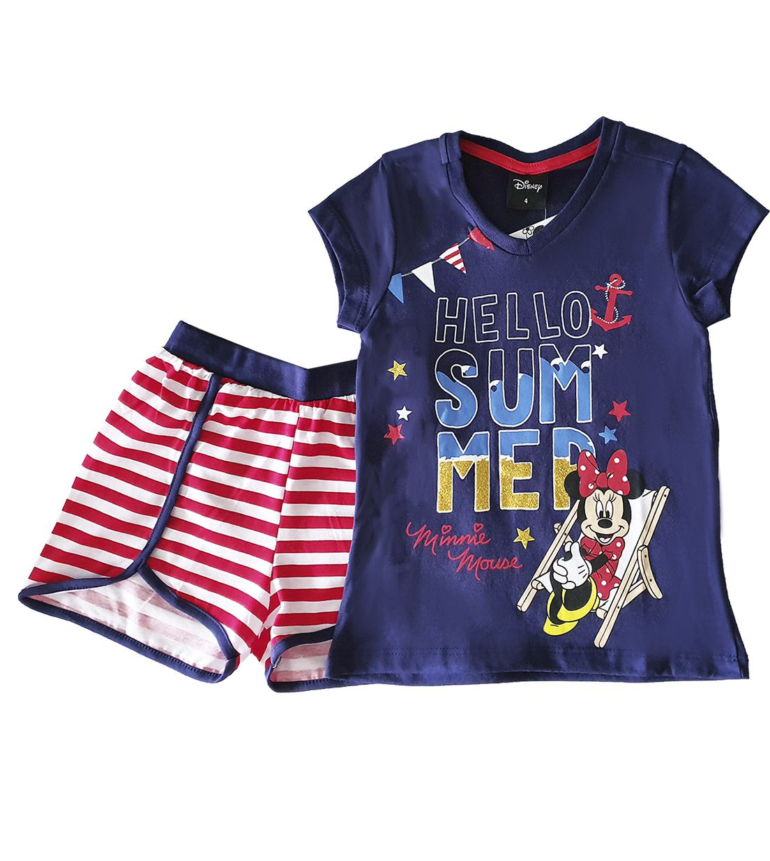 Pijama Curto  Infantil  Evanilda Disney Mini Marinho/Listado vermelho