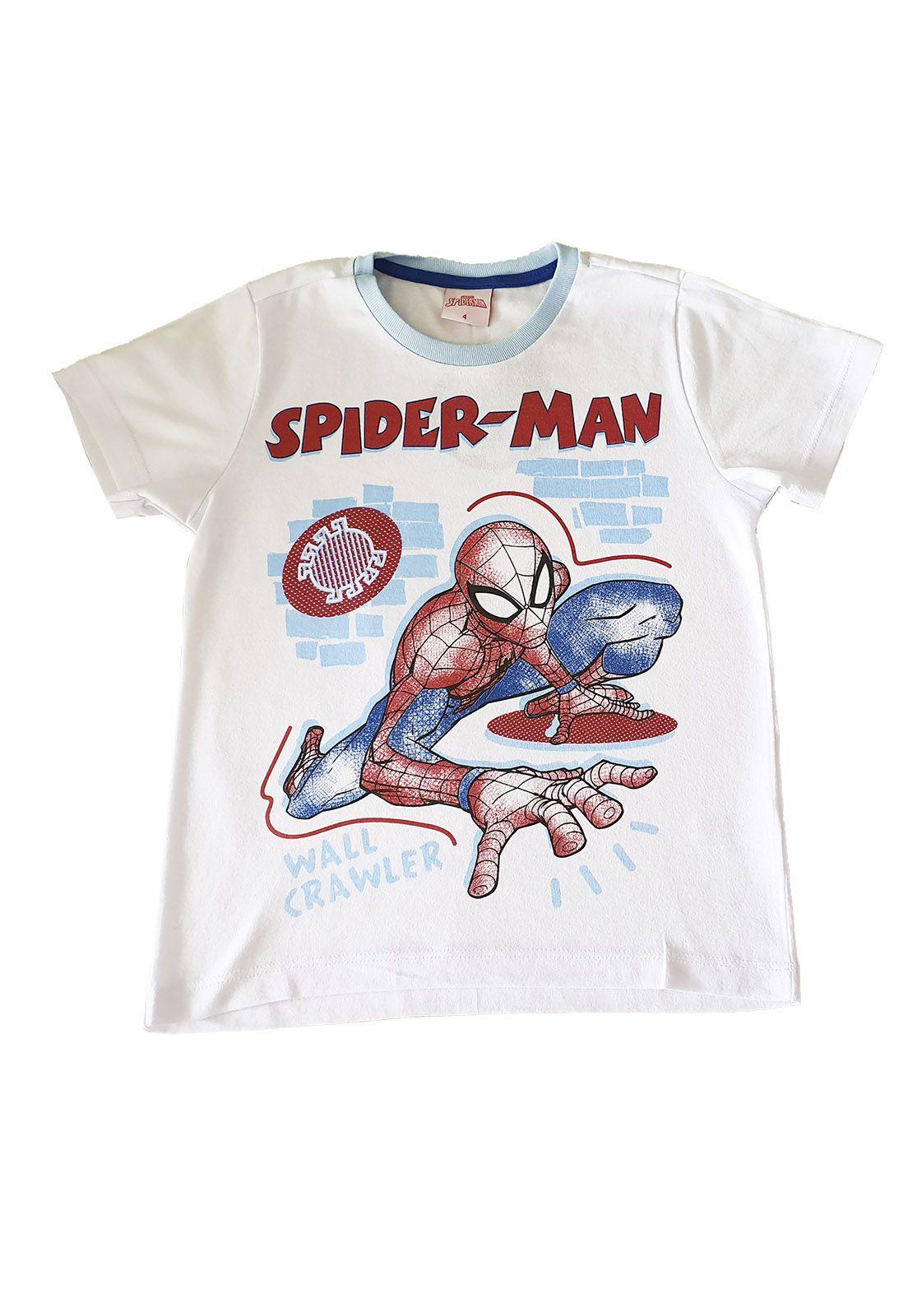 Pijama Curto Infantil  Evanilda Marvel Spiderman Branco/Azul