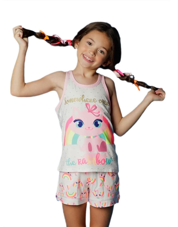 Pijama curto Regata e shorts Puket Gatinha
