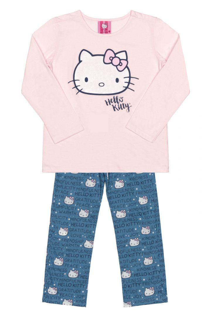 5bdfc6202e Pijama Hello Kitty manga longa e calça Rosa Azul - Sonho colorido kids ...