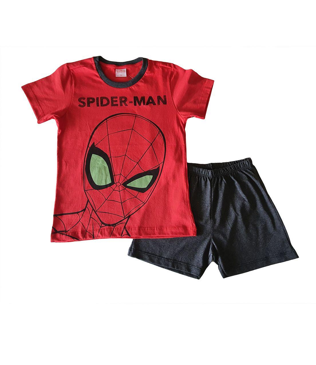 Pijama Infantil Camiseta Manga curta e Shorts Evanilda  Spider Man Vermelho e Chumbo