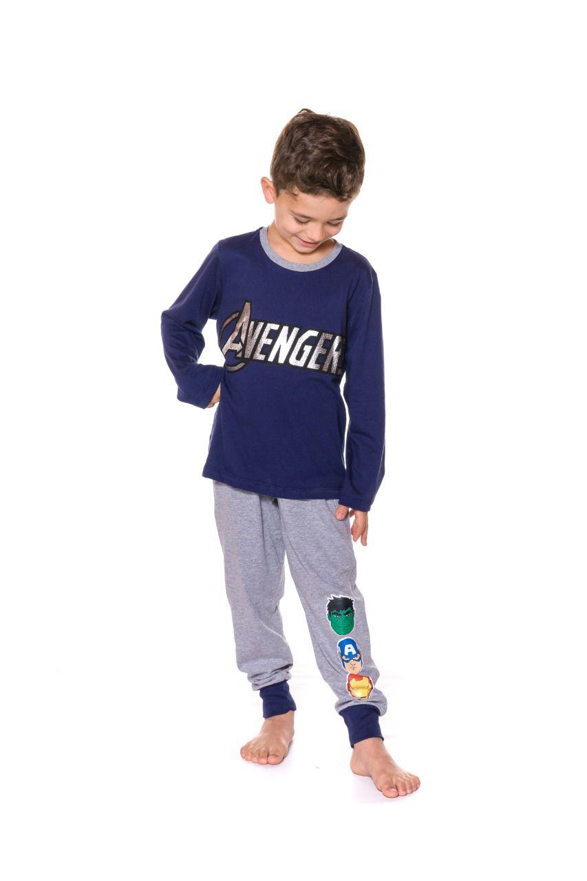 Pijama Infantil Camiseta Manga Longa e Calça Evanilda Avengers Azul e Mescla