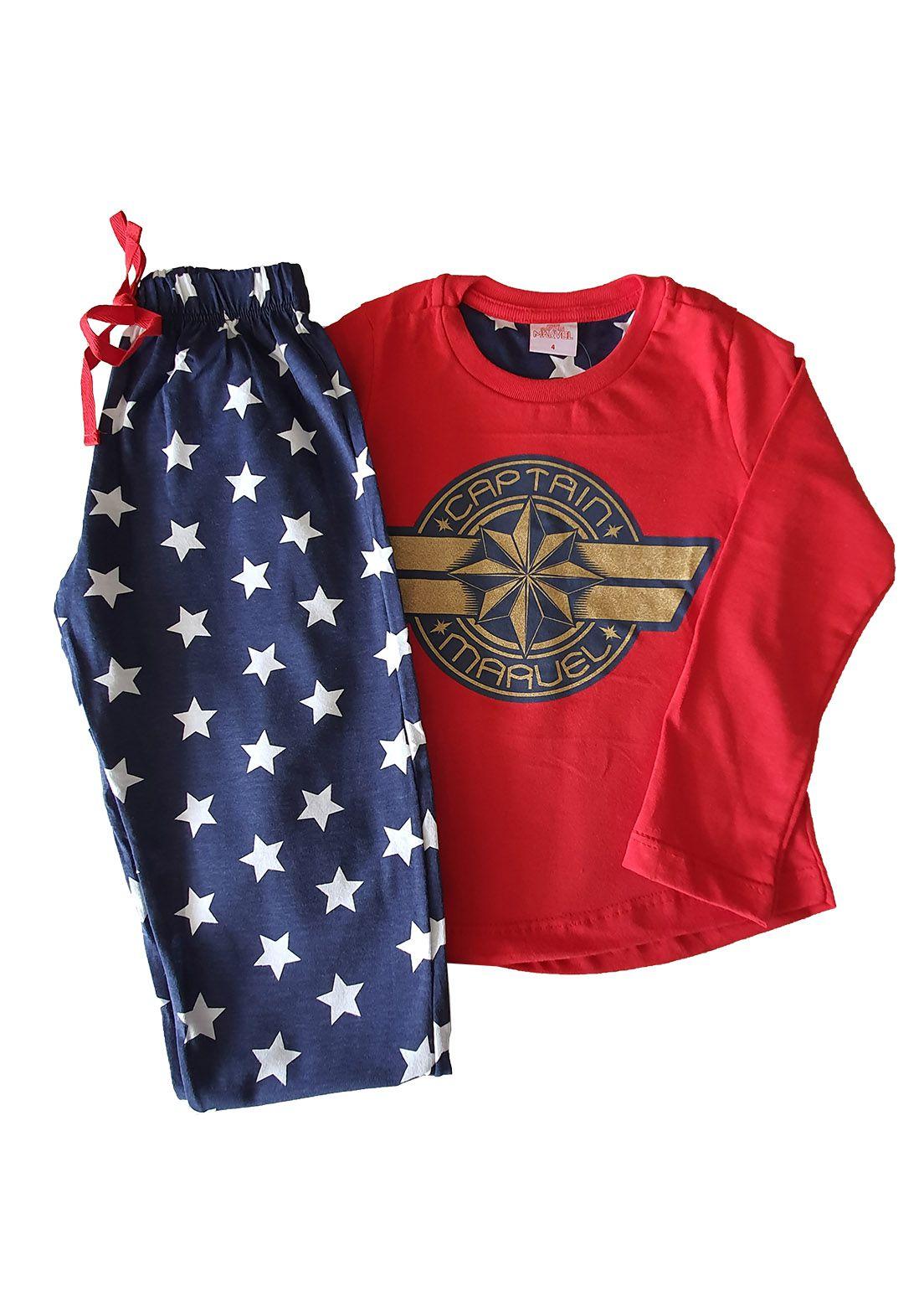 Pijama Infantil Camiseta Manga Longa e Calça Evanilda  Capitain Marvel Vermelho e marinho