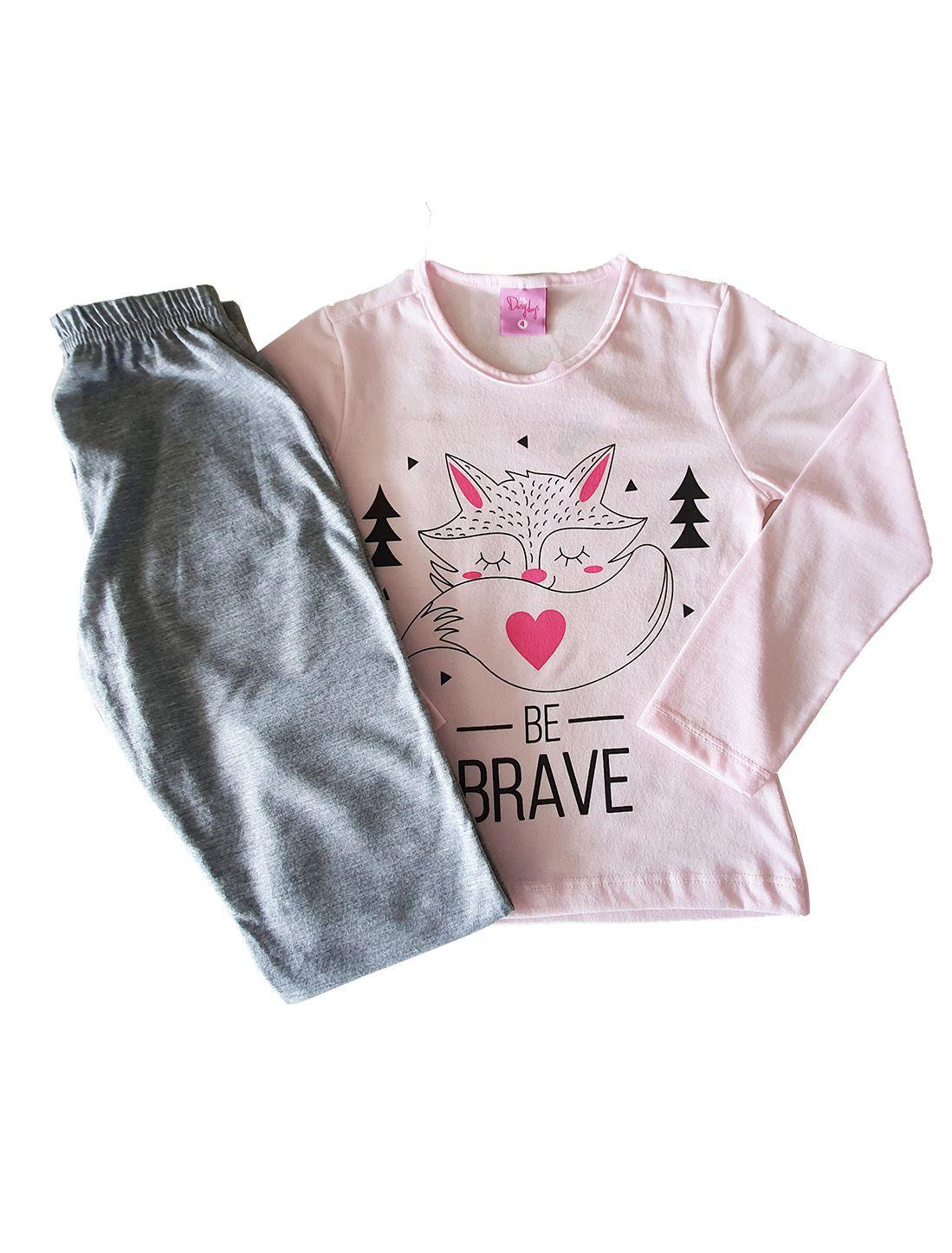 Pijama Infantil Camiseta Manga Longa e Calça Evanilda  Raposa Rosa