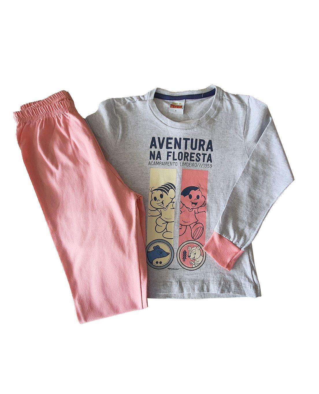 Pijama Infantil Camiseta Manga Longa e Calça Evanilda  Turma da Mônica Mescla e Rosa