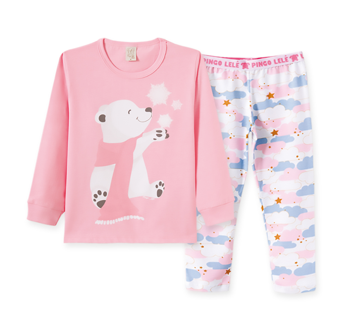 Pijama Infantil Pingo Lelê manga longa em meia malha Urso Rosa