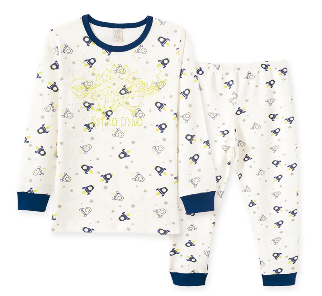 Pijama Infantil Pingo Lelê Manga Longa em suedine Astro Brilha no escuro Off White