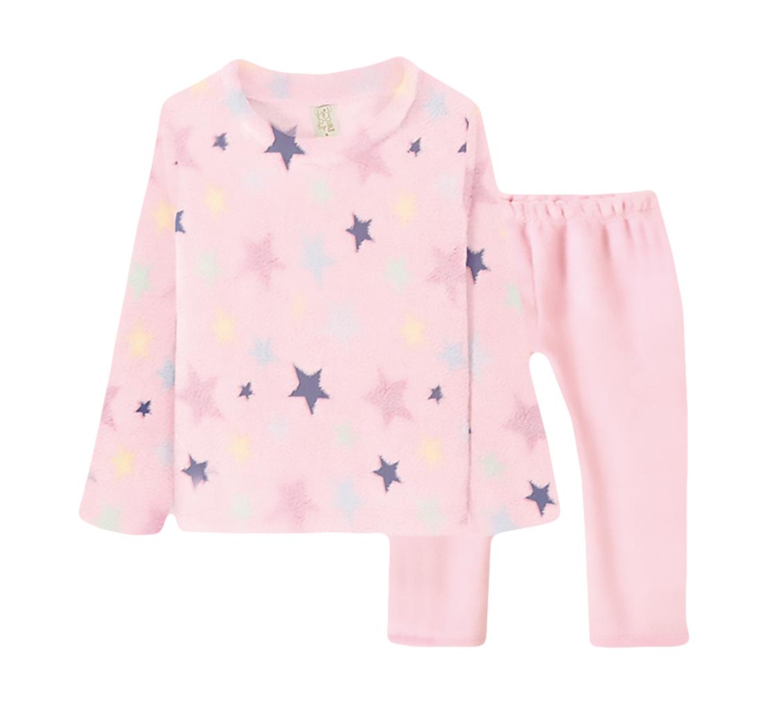 Pijama  Infantil Pingo Lelê manga longa Fleece Estrela Rosa