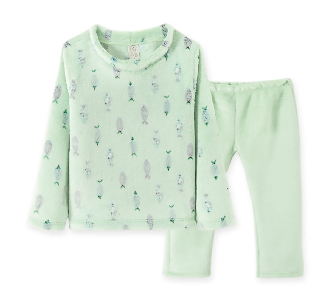 Pijama  Infantil Pingo Lelê manga longa Fleece Peixe Verde