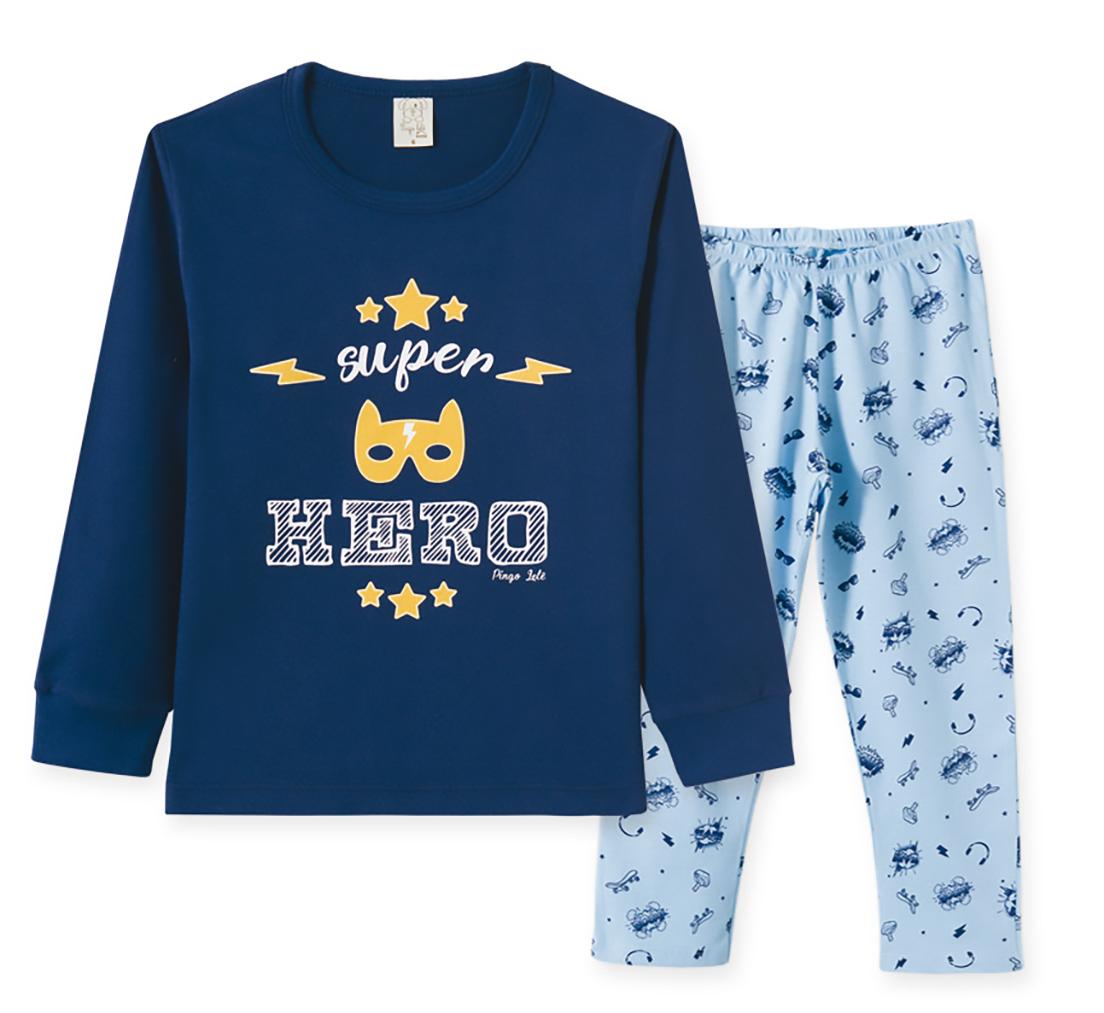 Pijama Infantil Pingo Lelê Manga Longa Hero Marinho e Azul