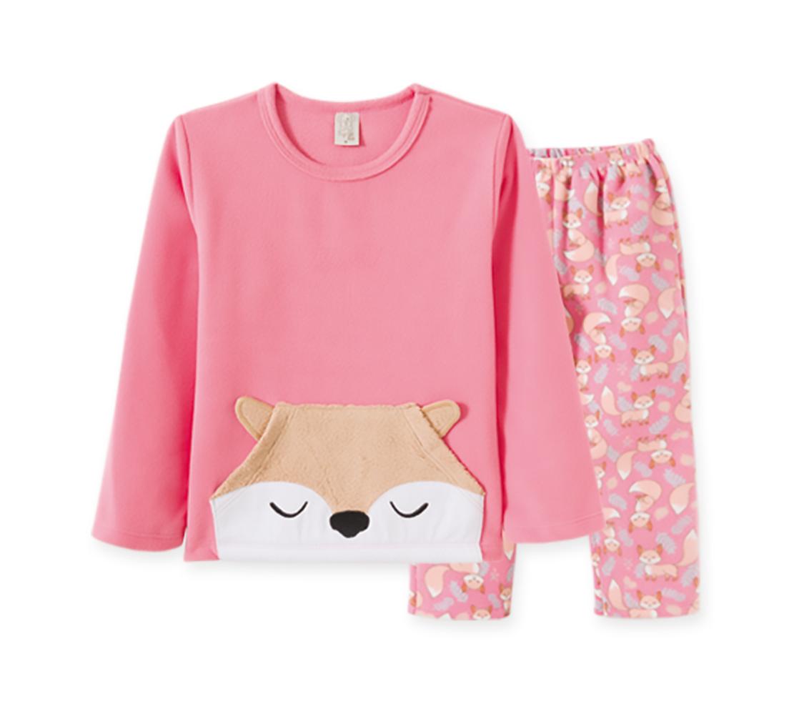 Pijama  Infantil Pingo Lelê manga longa Soft Raposa Rosa