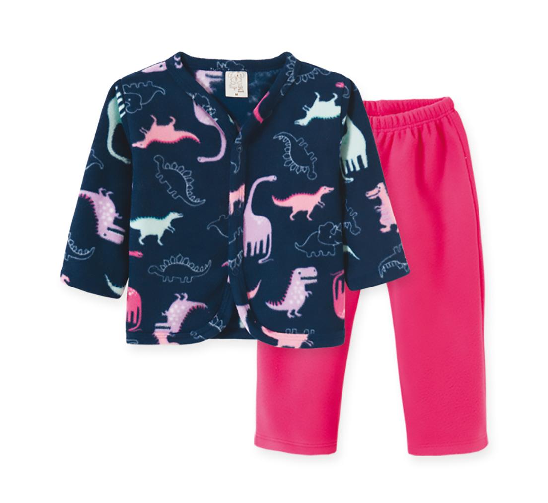Pijama Infantil Soft Pingo Lelê Dino Pink