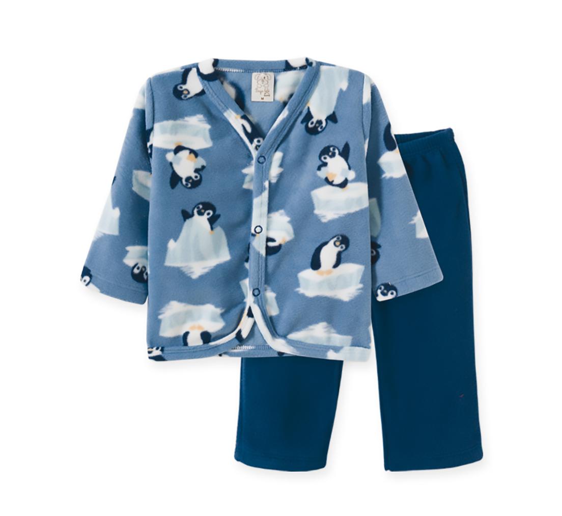 Pijama Infantil Soft Pingo Lelê Pinguim Azul