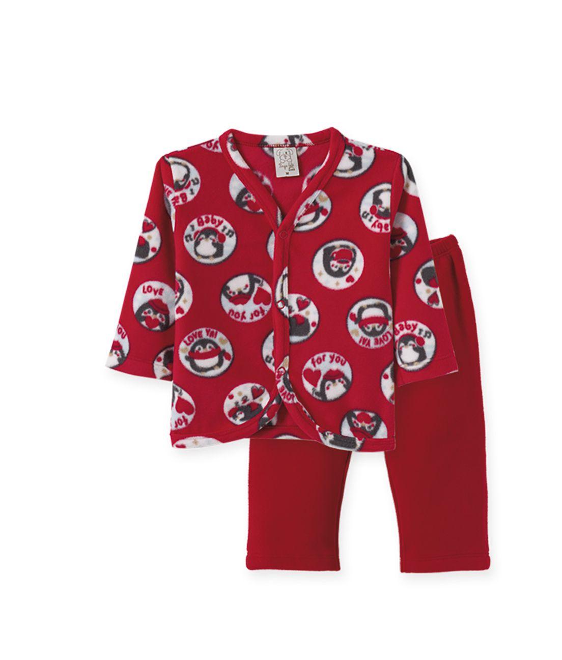Pijama  Infantil  Soft Pingo Lelê Pinguim Vermelho