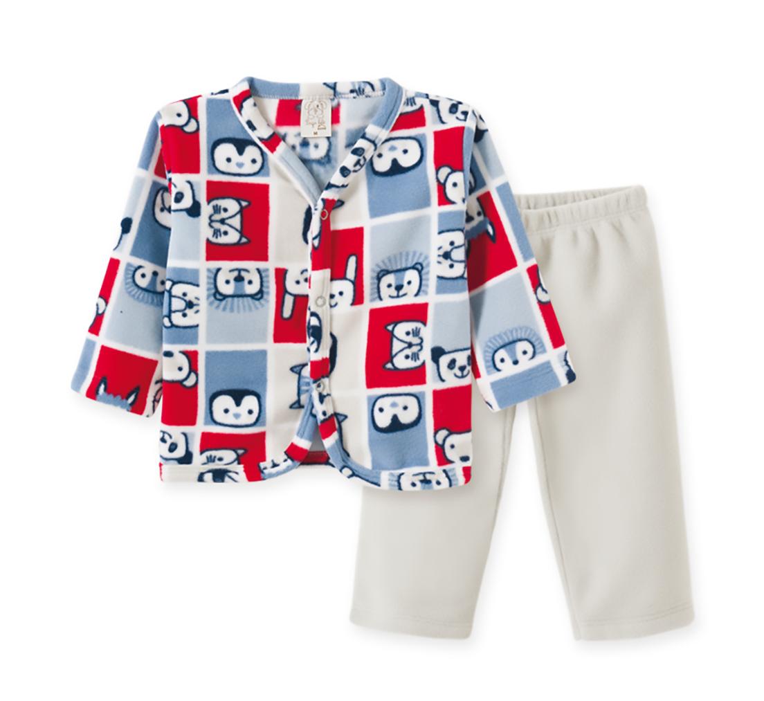 Pijama Infantil Soft Pingo Lelê Xadrez Bichos