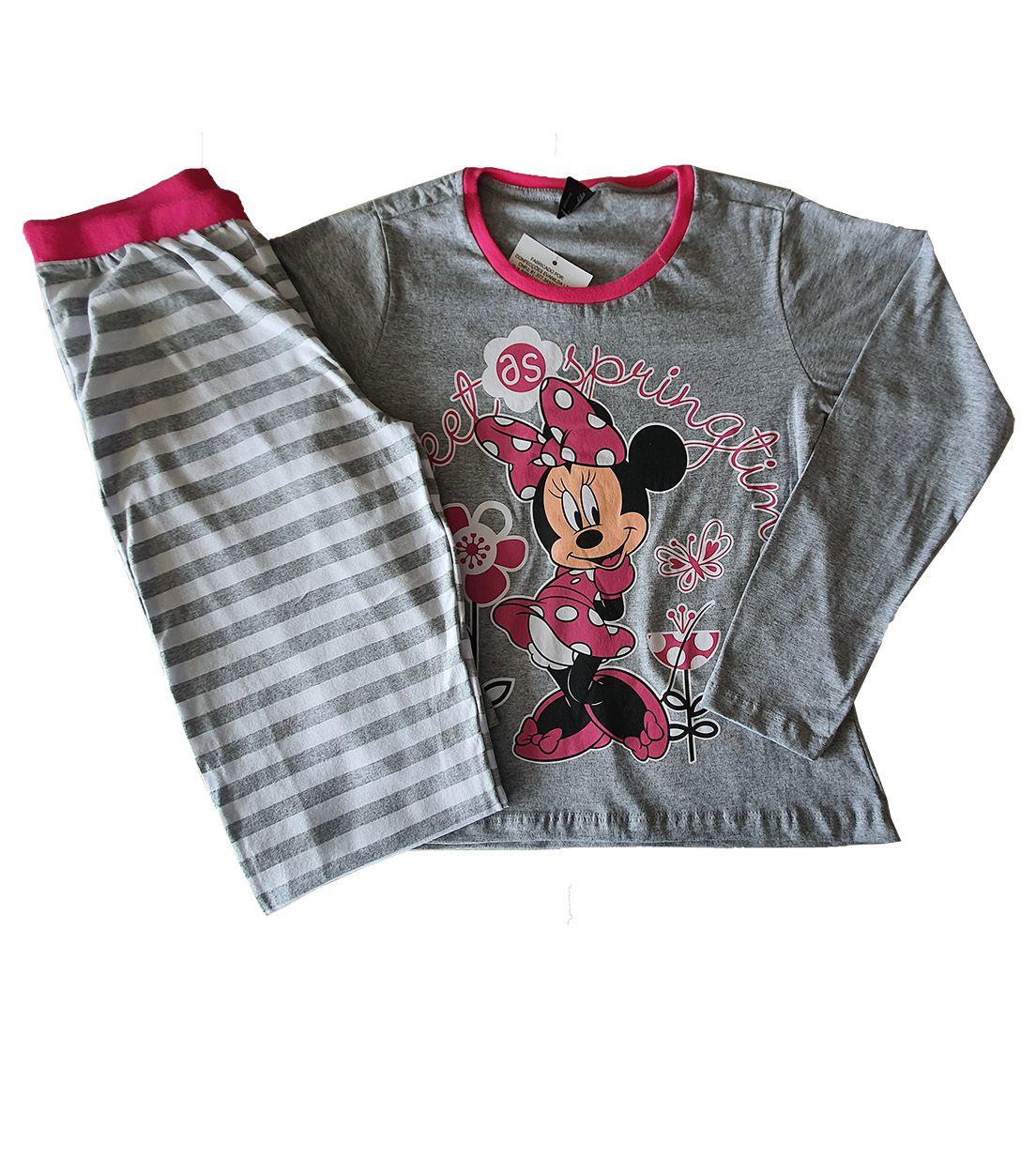 Pijama Juvenil Camiseta Manga Longa e Calça Evanilda  Minni Mescla e Rosa