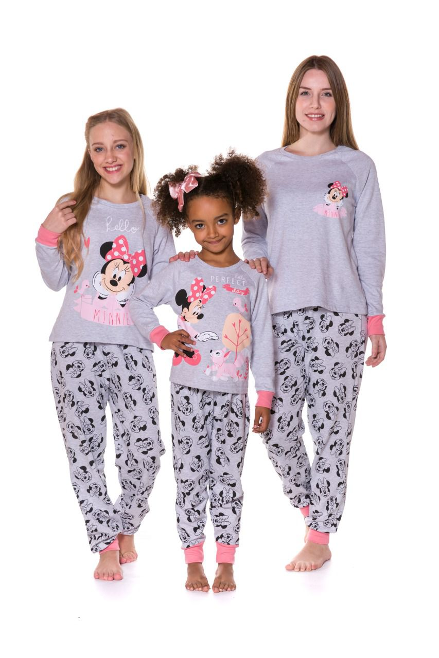 Pijama Mãe e Filha Camiseta Manga Longa e Calça em Moletinho Evanilda  Minni Mescla