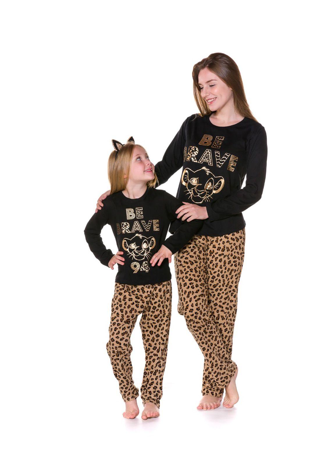 Pijama Mãe Filha Camiseta Manga Longa e Calça Evanilda Rei Leão Preto e Oncinha