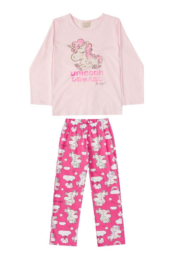 Pijama manga longa e calça Quimby Unicórnio Rosa