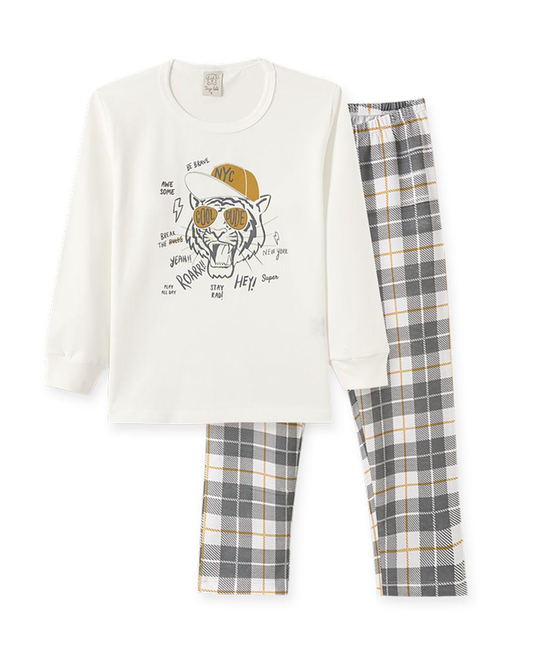 Pijama Infantil manga longa em meia malha penteada Pingo Lelê  Tigre  Off White e Xadrez / Brilha no escuro
