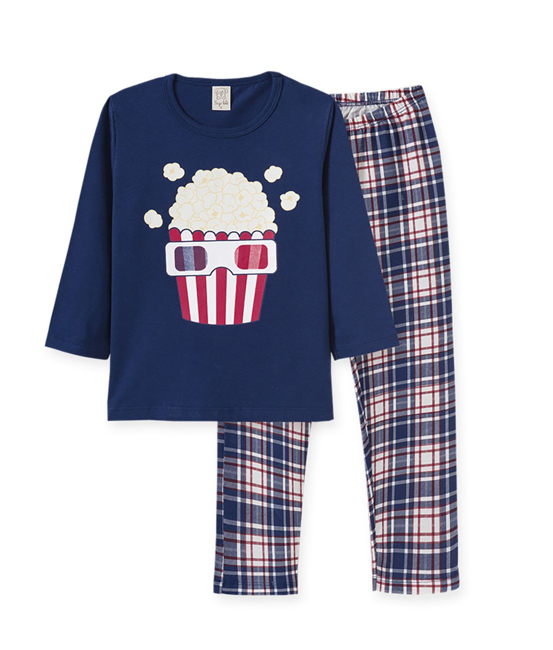 Pijama manga longa em meia malha Pingo Lelê Pipoca Marinho/Xadrez