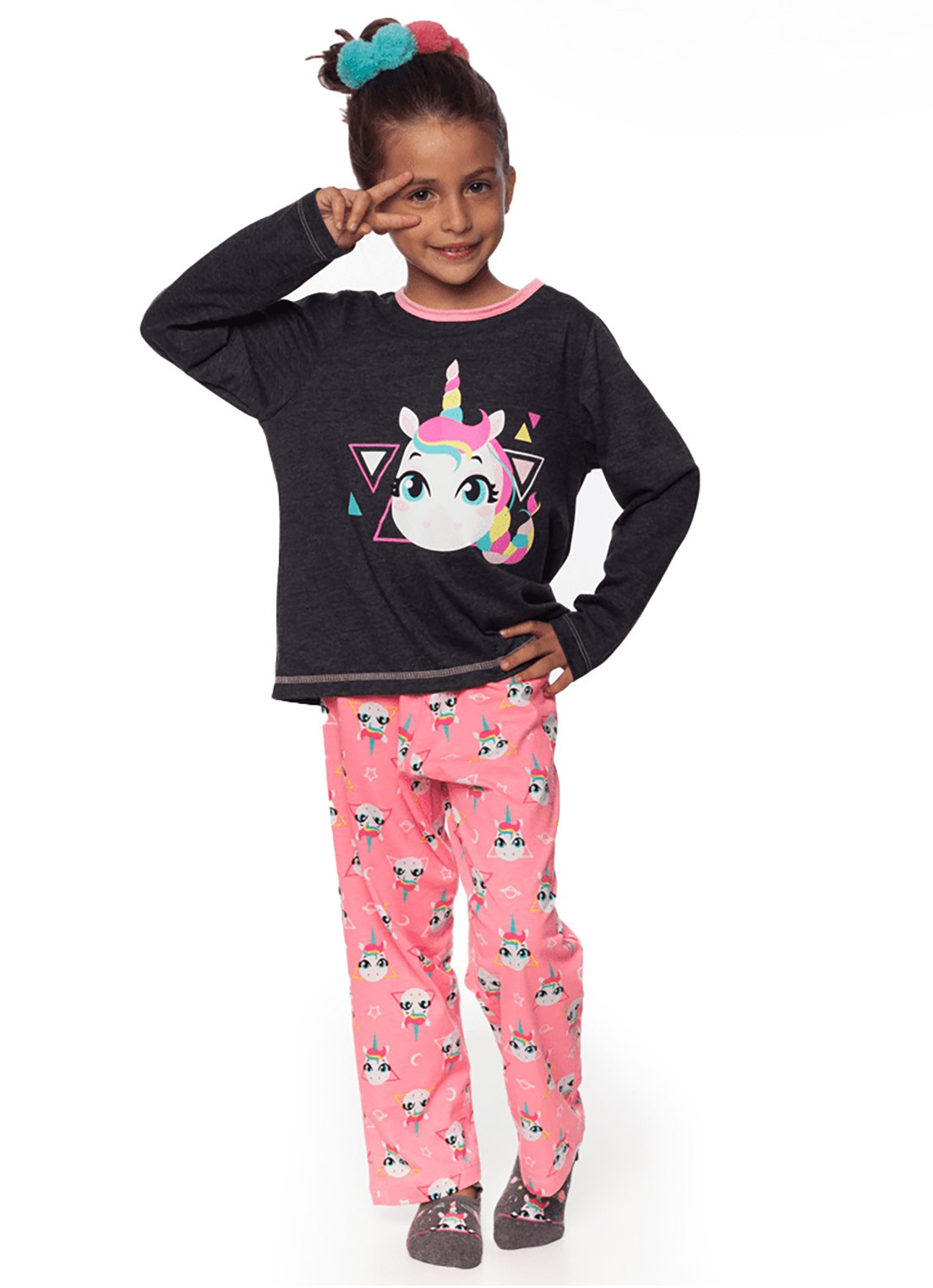 Pijama manga longa Puket Unicórnio chumbo e rosa