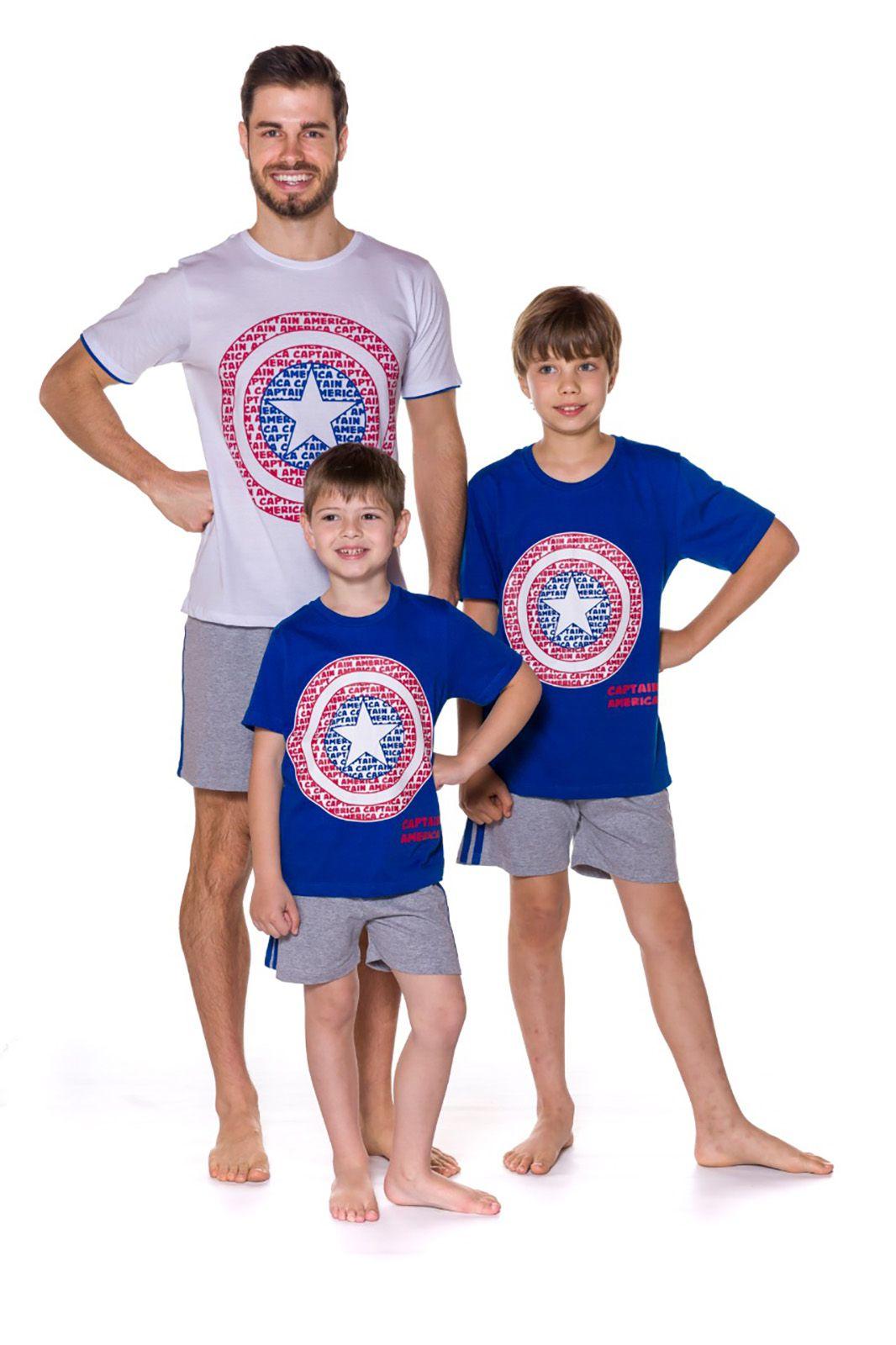 Pijama Pai e Filho Camiseta Manga curta e Shorts Evanilda  Avengers Capitão América