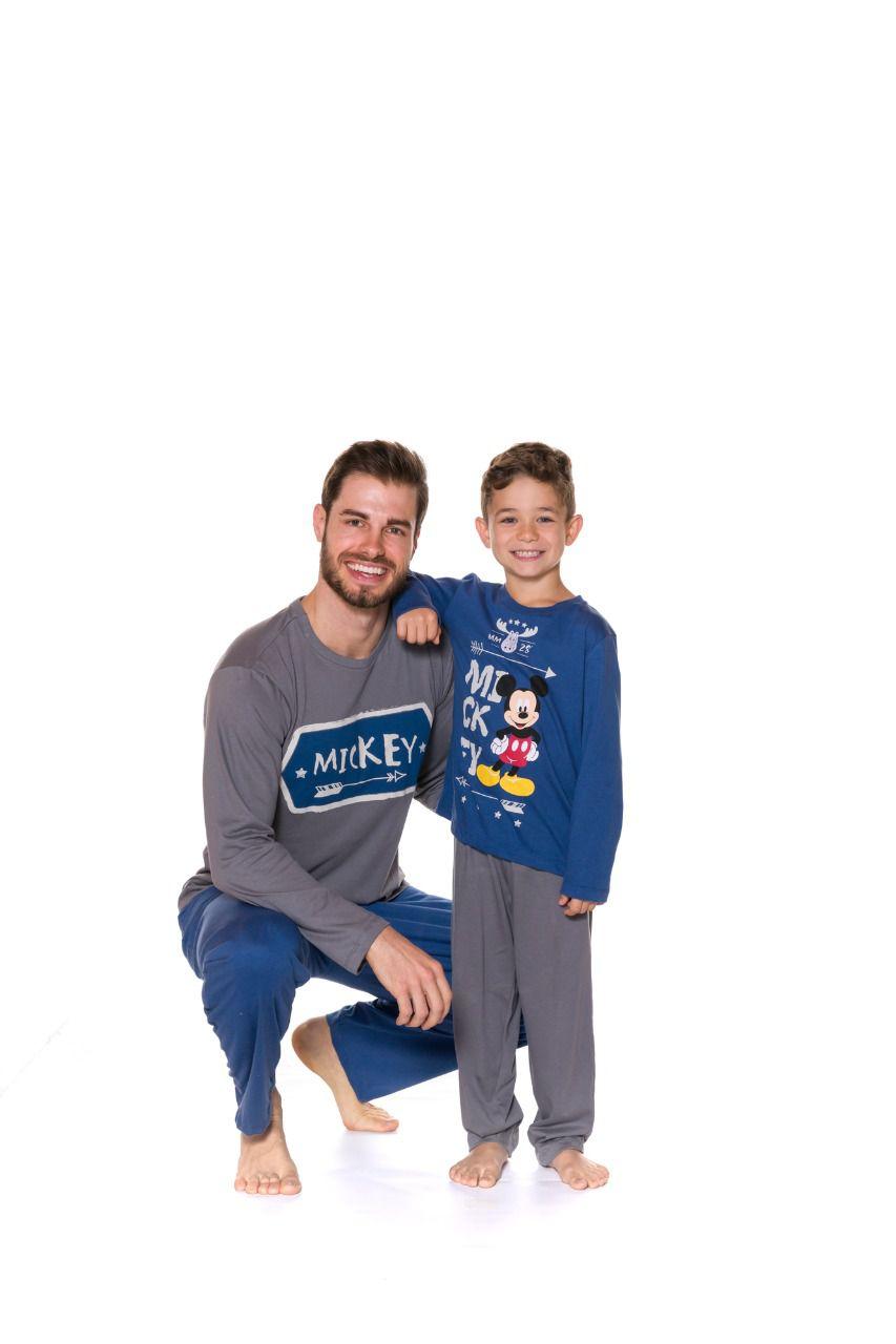 Pijama Pai e Filho Camiseta Manga Longa e Calça Evanilda Mickey Azul e mescla