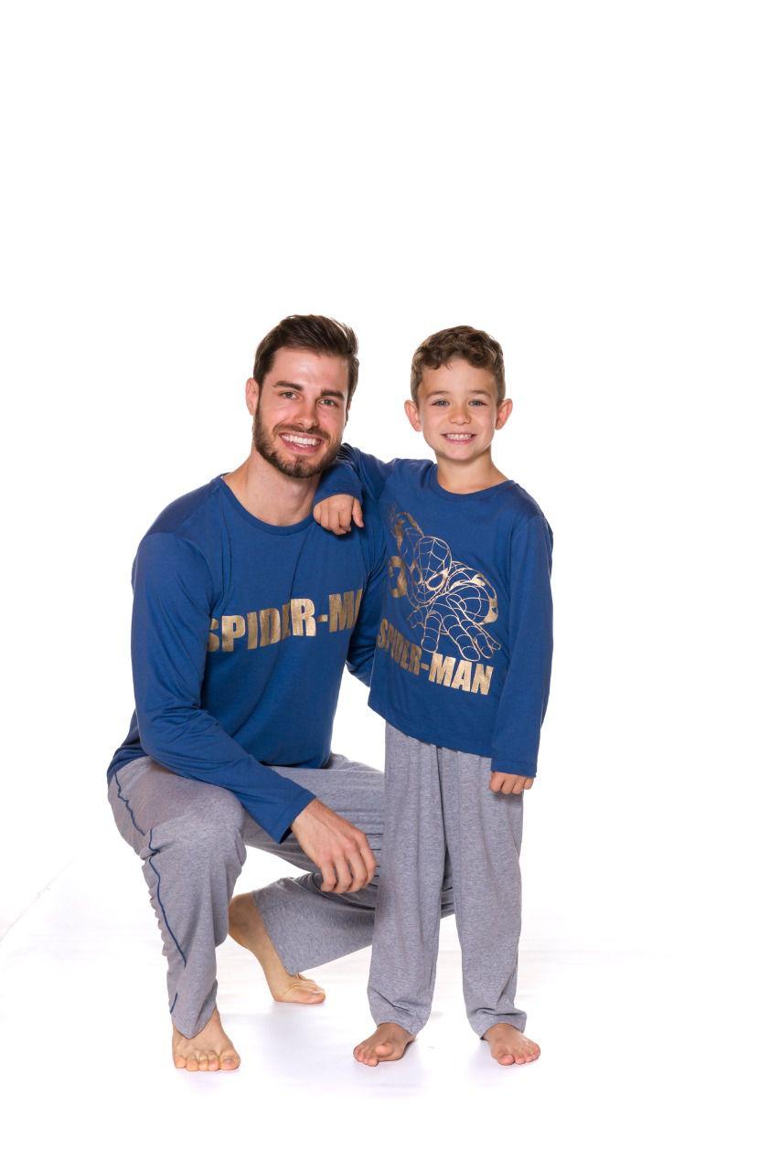 Pijama Pai e Filho Camiseta Manga Longa e Calça Evanilda Spider Man Azul e mescla