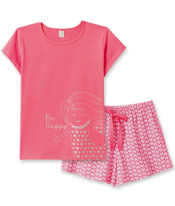 Pijama  Mãe e Filha Pingo LelêCorações Goiaba