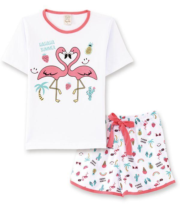 Pijama Pingo Lelê Manga Curta com Short Flamingo Brilha no Escuro