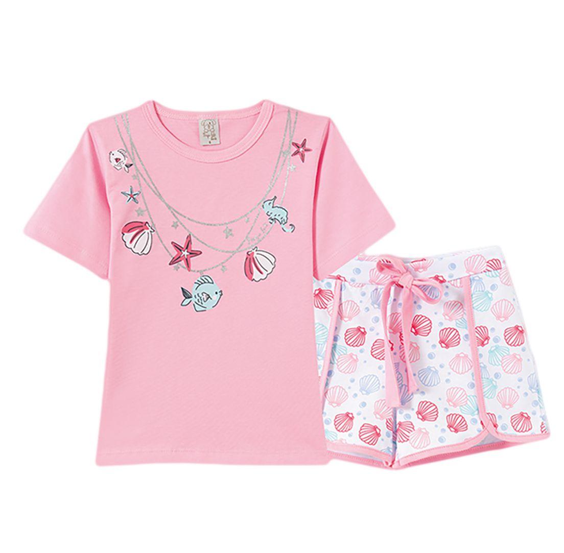 Pijama Infantil Pingo Lelê Manga Curta Conchas Rosa