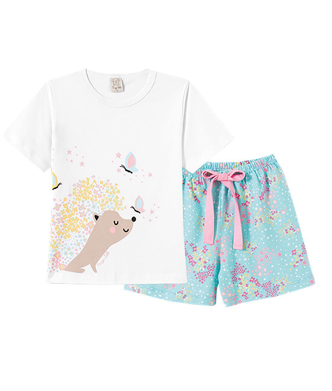Pijama  Infantil Pingo Lelê Manga Curta Mãe e Filha Flores e Estrelas Branco