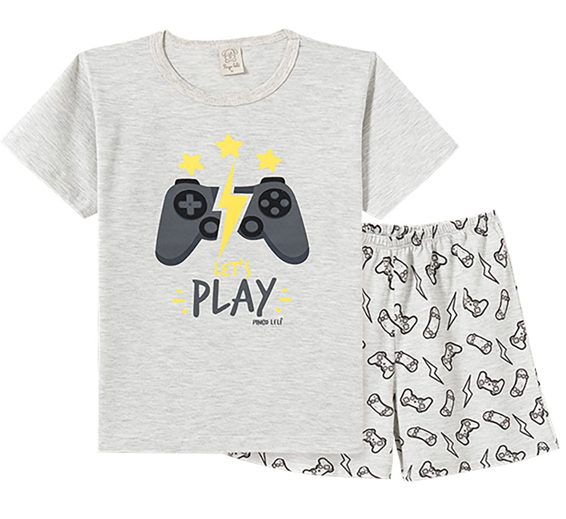 Pijama  Infantil Pingo Lelê Manga Curta  Play Game Mescla