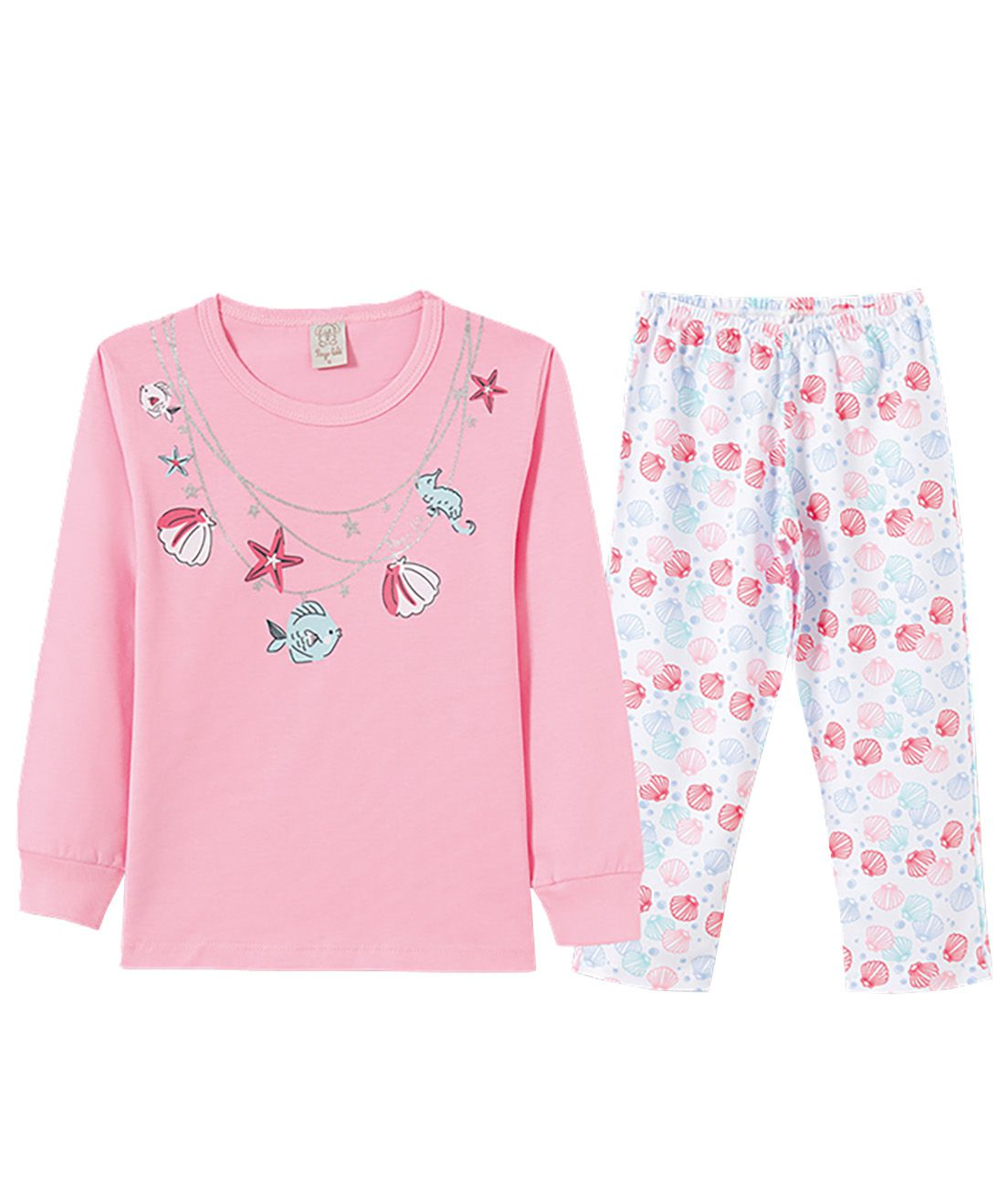 Pijama Infantil Pingo Lelê Manga longa Conchas Rosa