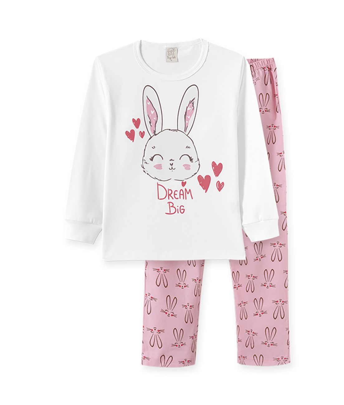 Pijama Pingo Lelê manga longa em meia malha  Coelha Branco e Rosa
