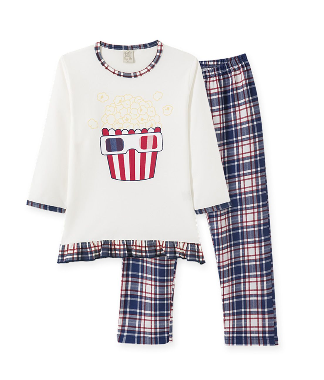 Pijama Pingo Lelê manga longa em meia malha  Pipoca Feminino Marinho/Xadrez