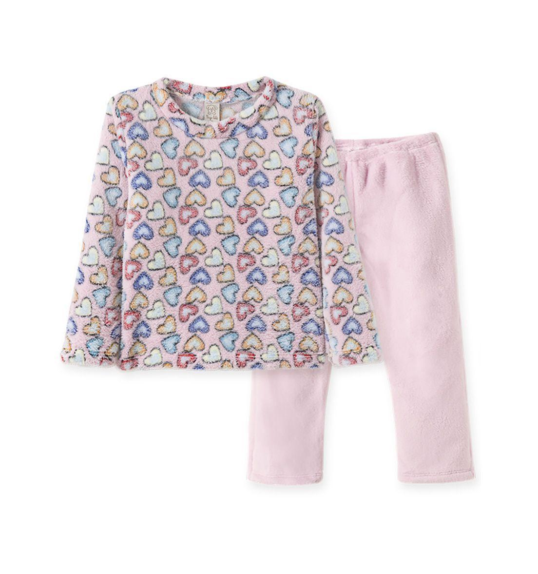 Pijama  Pingo Lelê manga longa Fleece Corações Rosa
