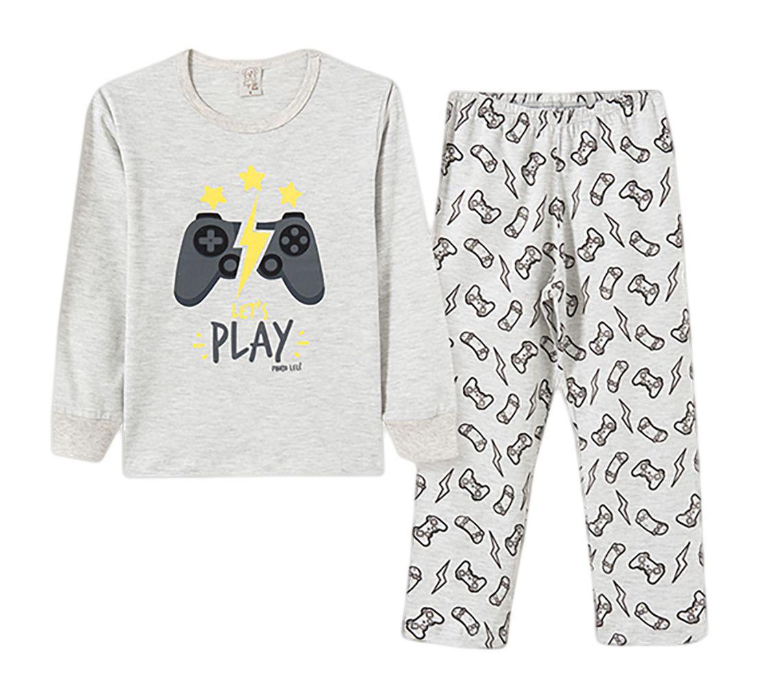 Pijama Infantil Pingo Lelê Manga Longa Play Game Mescla