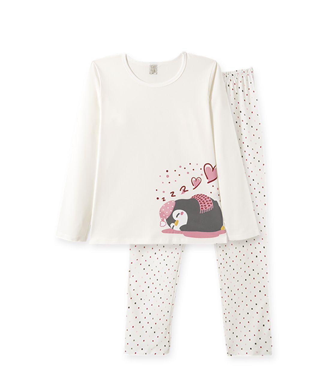 Pijama manga longa em meia malha Pingo Lelê Pinguim Off White
