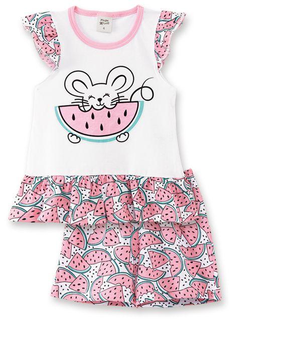 Pijama Pingo Lelê  Regata com Short Melancia Branco Brilha no Escuro