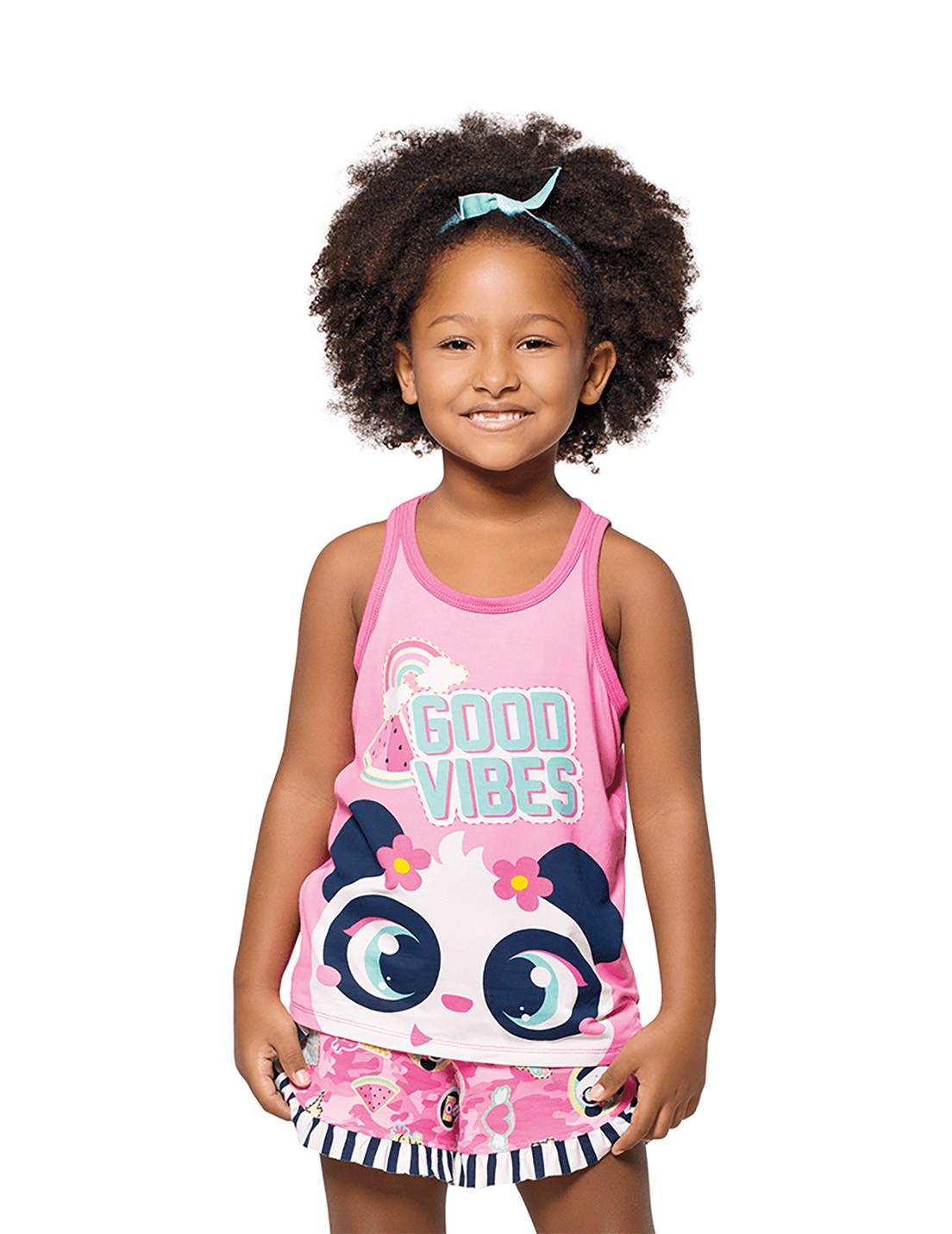 Pijama Infantil Regata e Shorts Puket  Panda Rosa