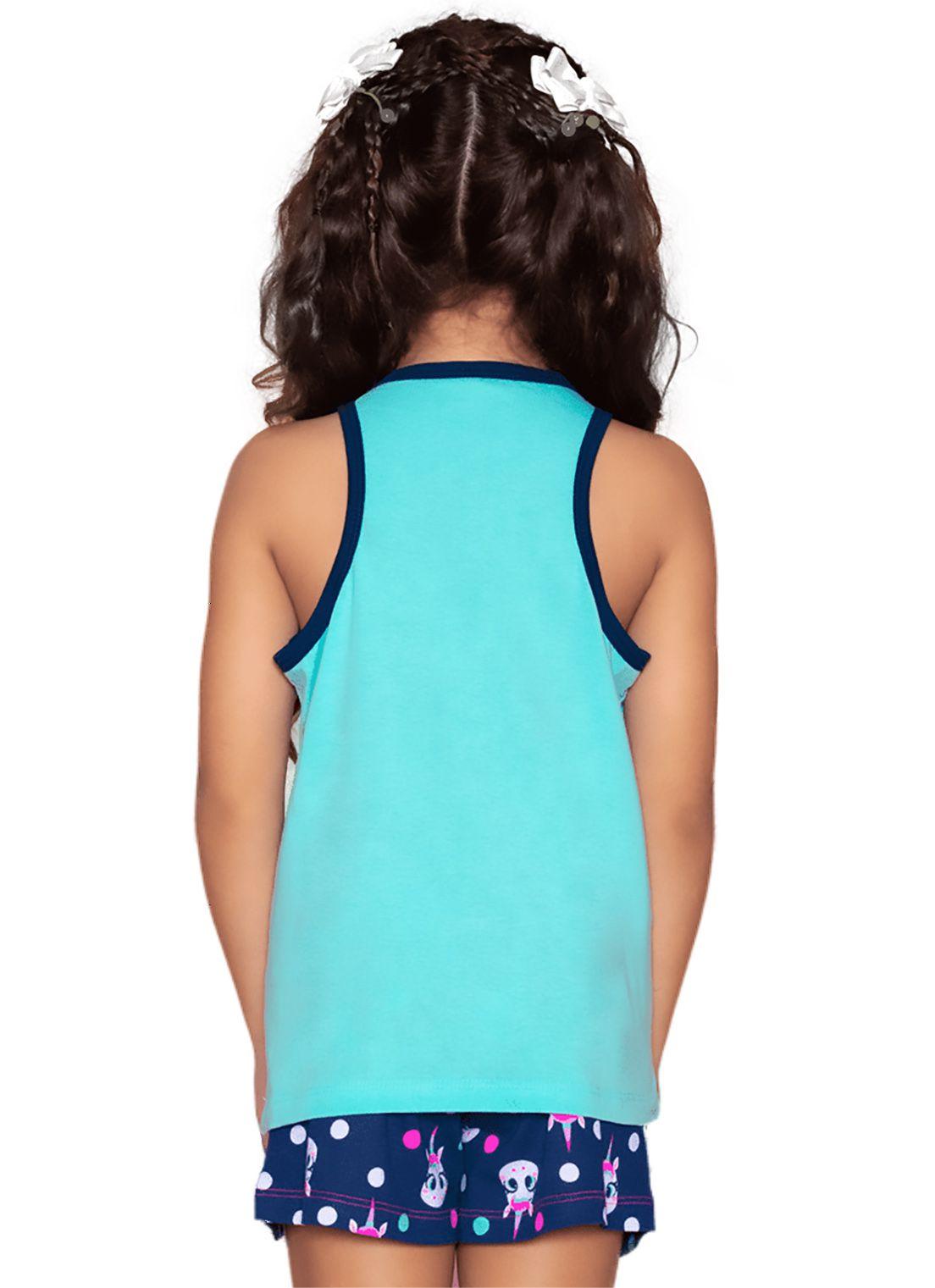 Pijama Regata Nadador e shorts Mãe e Filha Puket Unicórnio Verde Água