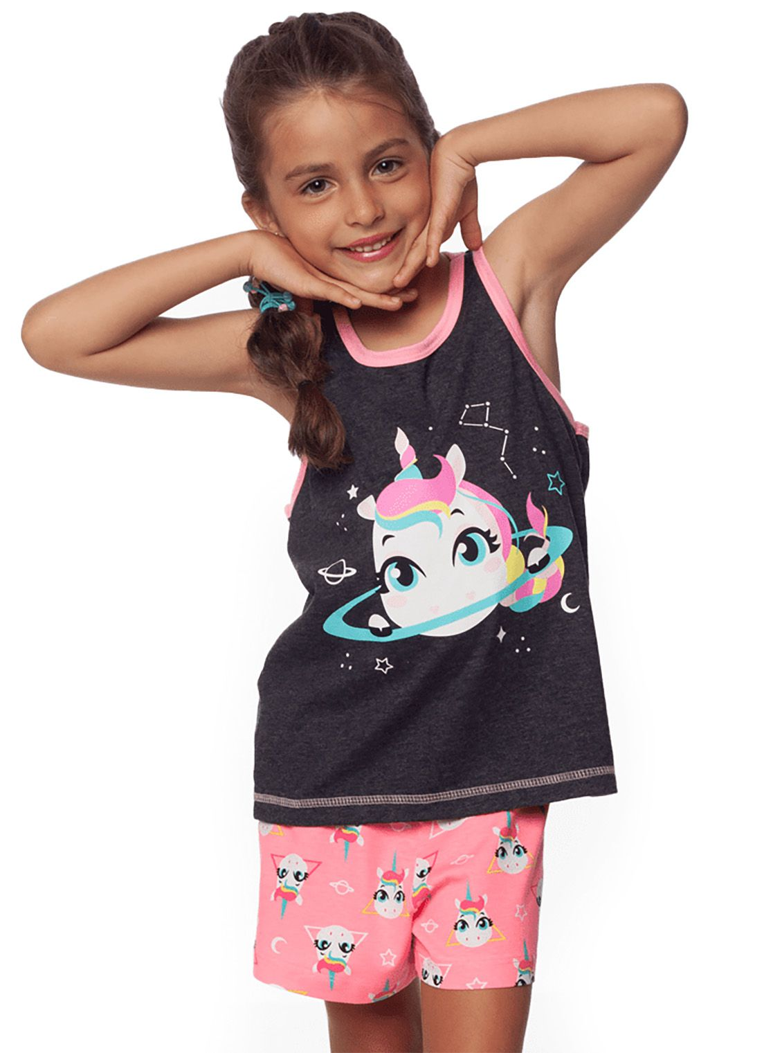 Pijama  Infantil Regata Nadador e shorts Puket Unicórnio chumbo e rosa